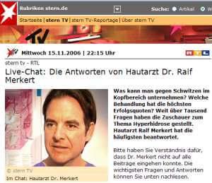 Oberarzt Dr. Ralf Merkert nach der Sendung im Live-Chat (Screenshot: www.sterntv.de)
